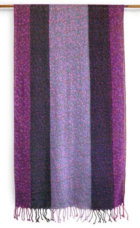 マルチカラー小石柄ストール(パープル系) 【コーディネートが楽しめる三色切り替え 180×50cm 】