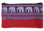 ゾウ柄布使い長方形ポーチ(紫帯)[シンプルな作りで使い方いろいろ、サイズ大きめの実力派]