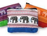 ゾウ柄布使いファスナーポーチ(アソート)[小銭、薬やアイケアグッズの収納など、便利に使えます]