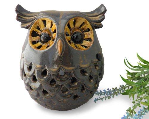 透かし彫り陶器フクロウ香炉  【不苦労=苦労知らずの縁起物としても人気の梟、贈り物にもお薦め】
