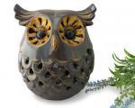 透かし彫り陶器フクロウ香炉[不苦労=苦労知らずの縁起物としても人気の梟、贈り物にも]