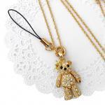 ペンダント ネックレス クマの王様ラインストーン(ストラップ付き/ゴールドカラー)[王冠をかぶったキラキラ熊さん]
