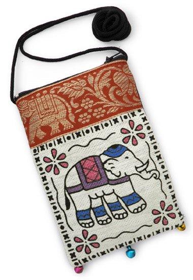 ゾウ柄リボン使いショルダーポーチ(ホワイト系)[スマートフォンや眼鏡、貴重品など、便利に使える]