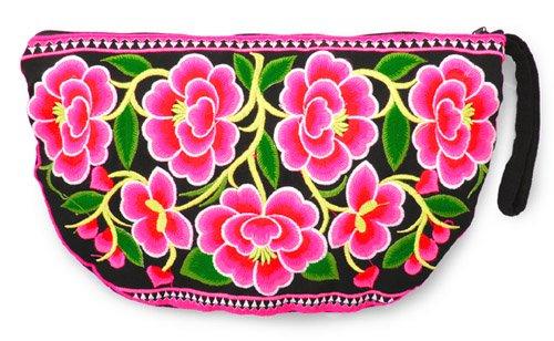 花モン族ハーフムーンクラッチバッグ[少数民族の刺繍をあしらった、艶やかなファッションバッグ]