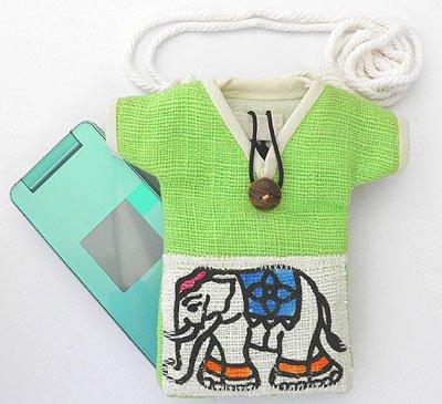 ヘンプゾウさんTシャツ型ショルダーポーチ(A)[携帯電話やサングラス収納に。御守入れにもぴったり]