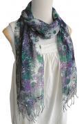 シルクコットン花柄 ロングスカーフ(パープル&グリーン)[襟元に個性的アクセント、37×165cm]