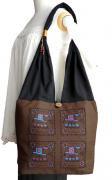 ゾウ柄布使いショルダーバッグ(茶)[軽くてたっぷり収納出来る、普段使いに最適なバッグ]