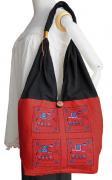ゾウ柄布使いショルダーバッグ(赤)[軽くてたっぷり収納出来る、普段使いに最適なバッグ]