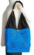 ゾウ柄布使いショルダーバッグ(青)[軽くてたっぷり収納出来る、普段使いに最適なバッグ]