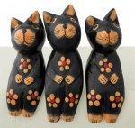 木彫り 猫 お座り猫トリオ(ブラック)[机やパソコン周りに飾りたい★お買い得三個組]