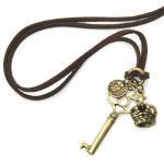 ペンダント ネックレス 革紐 王冠と鍵&ふくろうコイン[開運モチーフを組み合わせた、ラッキーアイテム]