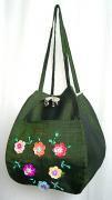 スパンコール刺繍バルーンバッグ(フォレストグリーン)