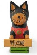 木彫り 猫 ボード持ちミニ猫[ウェルカムボードを捧げた、ちびっこニャンコ★記念品やプチギフトにも]