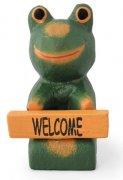 木彫り 蛙  ボード持ちミニカエル[ウェルカムボードを捧げた、ちびっこ蛙★記念品やプチギフトにも]