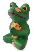 木彫り 蛙  座禅ガエル[一所懸命お祈り中カエルの飾り物★厄除け開運、家内安全の願いをこめた縁起物です]