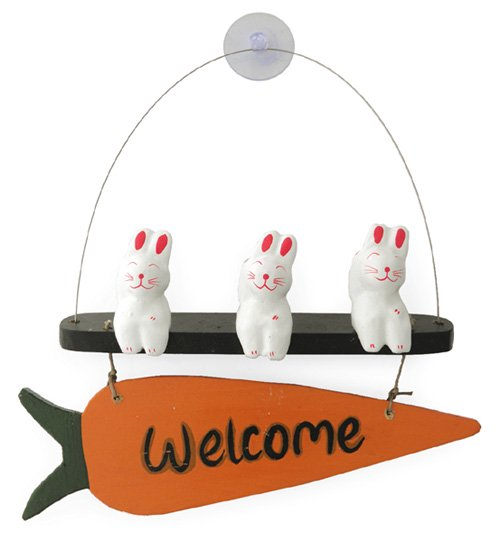 木彫り引っ付きウェルカムうさぎ 【福を呼ぶ、愛らしい招きウサギのウェルカムボードです!】