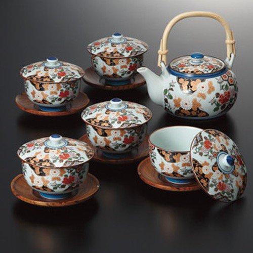 香典返し 送料無料 食器 茶器セット 亀甲岩牡丹 茶托付 番茶器揃 30393 (8)