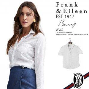 Frank&Eileen BARRY WWS レディースシャツ WHITE ON WHITE TEXTURED STRIPE ITALIAN POPLIN (フランクアンドアイリーン バリー)