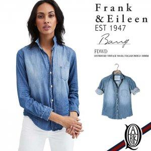 Frank&Eileen BARRY FDWD レディースシャツ DISTRESSED VINTAGE WASH ITALIAN INDIGO DENIM フランクアンドアイリーン バリー