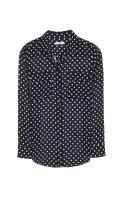EQUIPMENT エキップモン SLIM SIGNATURE 定番シルクシャツ ドットプリント ECLIPSE(DARK BLUE)