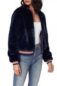 MOTHER DENIM マザーデニム The Letterman Fur Jacket  NAVY