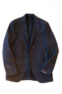LARDINI ラルディーニ 20-21A/W ウールブレンドチェックジャケット NAVY