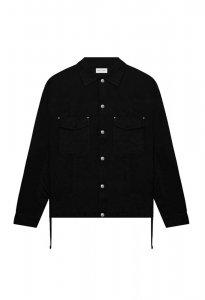 JOHN ELLIOTT ジョンエリオット Cotton Poplin Frame Snap Overshirt BLACK