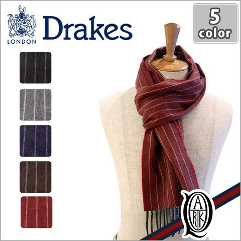 DRAKE'S【ドレイクス】 Chalk Stripe ストライプチョーク マフラー [全5種類]