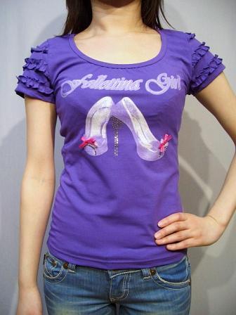 follettina girl フリル袖Tシャツ パープルM