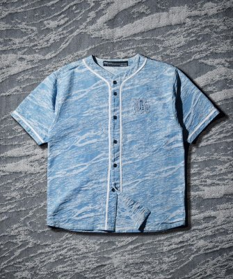 -Back Channel-JAQUARD DENIM BASEBALL SHIRT