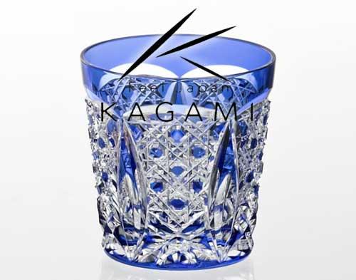 江戸切子 伝統工芸士 木村秋男 - 青色・冷酒杯 冷酒グラス [T481-1917-CCB] |カガミクリスタル