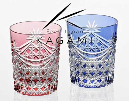 江戸切子 ペアロックグラス(金赤と青) - 幕襞に四角籠目 紋 [TPS370-2835-AB]|カガミクリスタル