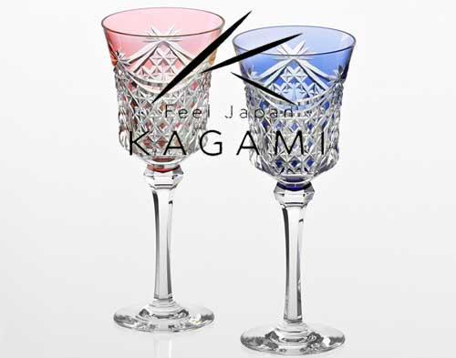 江戸切子(幕襞に四角籠目紋)ペアワイングラス[KPS3602-2835-AB]|カガミクリスタル