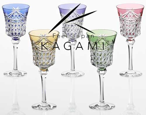 江戸切子(幕襞に四角籠目紋)ワイングラスセット [KS3602-2835-5]|カガミクリスタル