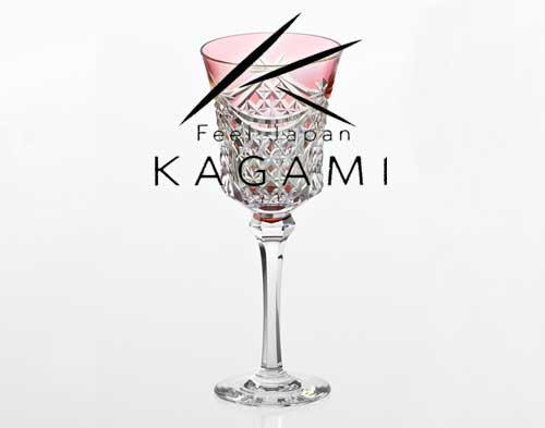 江戸切子(幕襞に四角籠目紋) 赤色ワイングラス[K3602-2835-CAU]|カガミクリスタル