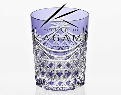 江戸切子(幕襞に四角籠目紋) 紫色ロックグラス[T370-2835-CMP]|カガミクリスタル
