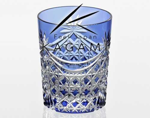江戸切子(幕襞に四角籠目紋) 青色ロックグラス[T370-2835-CCB]|カガミクリスタル