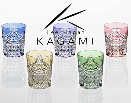 江戸切子 ロックグラス5脚セット(金赤と青) - 幕襞に四角籠目 紋 [TS370-2835-5]|カガミクリスタル