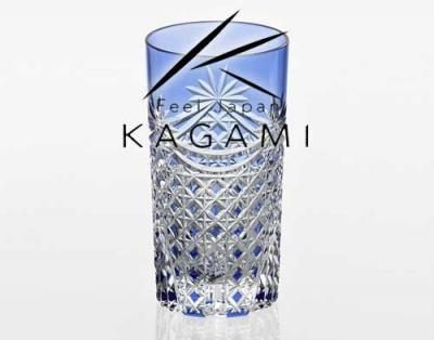 江戸切子(幕襞に四角籠目紋) 青色タンブラー[T369-2835-CCB]|カガミクリスタル