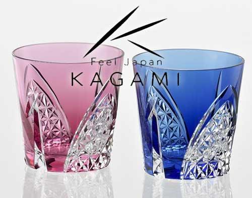 江戸切子(折鶴紋) 金赤・青色 ペア冷酒杯 [TPS481-2782-AB]|カガミクリスタル