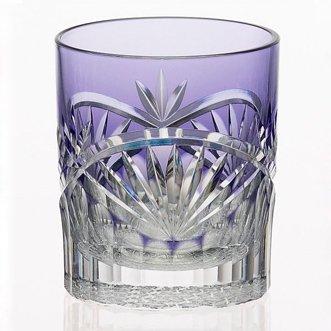 江戸切子と小紋付 - 紫色 冷酒グラス《...