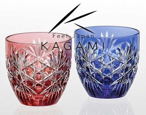 江戸切子(六角籠目 紋) 金赤・青色 ペア冷酒杯 [TPS735-2706-AB]|カガミクリスタル