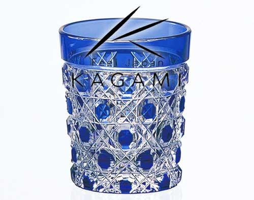 江戸切子(八角籠目紋) 青色・懐石杯 [T590-1-CCB]|カガミクリスタル