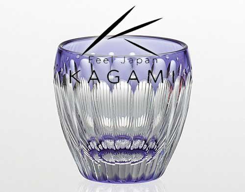 江戸切子 伝統工芸士 鍋谷聰 - 江戸切子(菊花) 紫色・冷酒杯 [T535-2685-CMP]|カガミクリスタル
