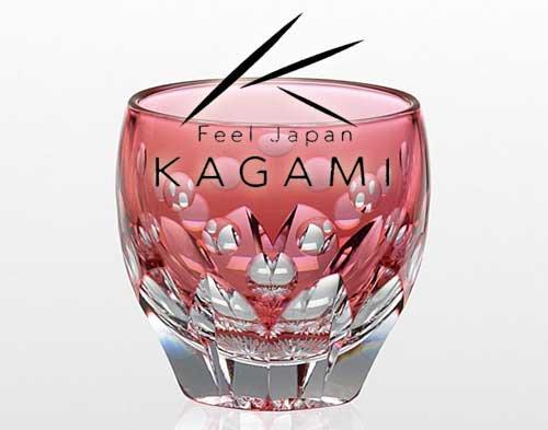 伝統工芸士 鍋谷聰 - 江戸切子(桜) 赤色 冷酒杯 [T535-2683-CAU]|カガミクリスタル