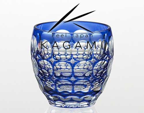 伝統工芸士 鍋谷聰 - 江戸切子(紫陽花) 青色 冷酒杯 [T535-2684-CCB]|カガミクリスタル