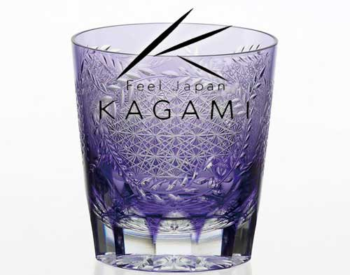 江戸切子 伝統工芸士 根本達也 - 江戸切子(藤) 紫色・焼酎ロックグラス [T705-2649-CMP]|カガミクリス…