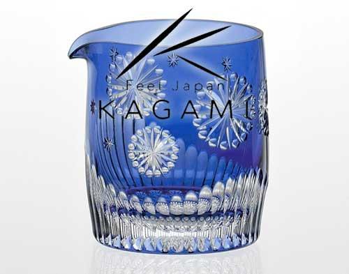 伝統工芸士 鍋谷淳一 - 江戸切子(花火) 青色 冷酒片口 [J68-2713-CCB]|カガミクリスタル