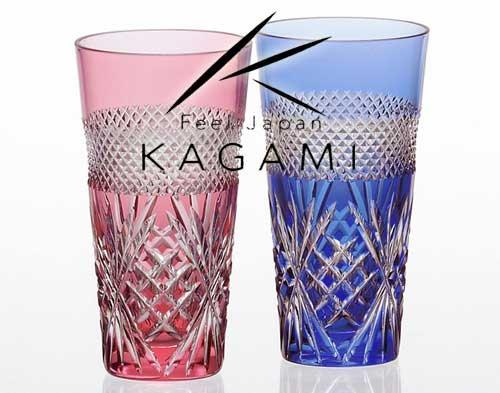 江戸切子(魚子に笹っ葉) 金赤&青・ペアひとくちビールグラス [#2650] カガミクリスタル