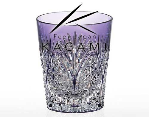 江戸切子・焼酎グラス〈笹っ葉に麻の葉・紫〉[T557-2472-CMP]|カガミクリスタル